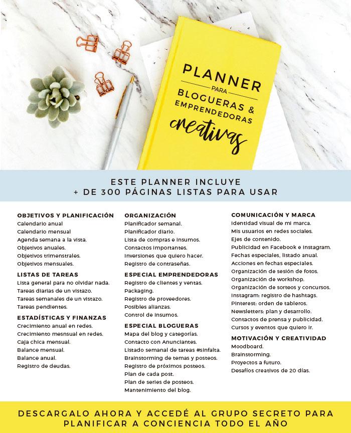 Detalle de todas las planillas que incluye el planner