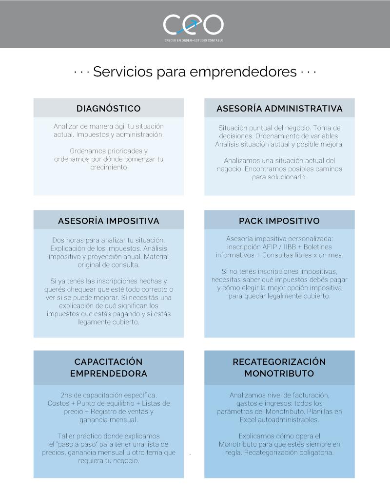 Servicios para emprendedores | CEO - Crecer en orden